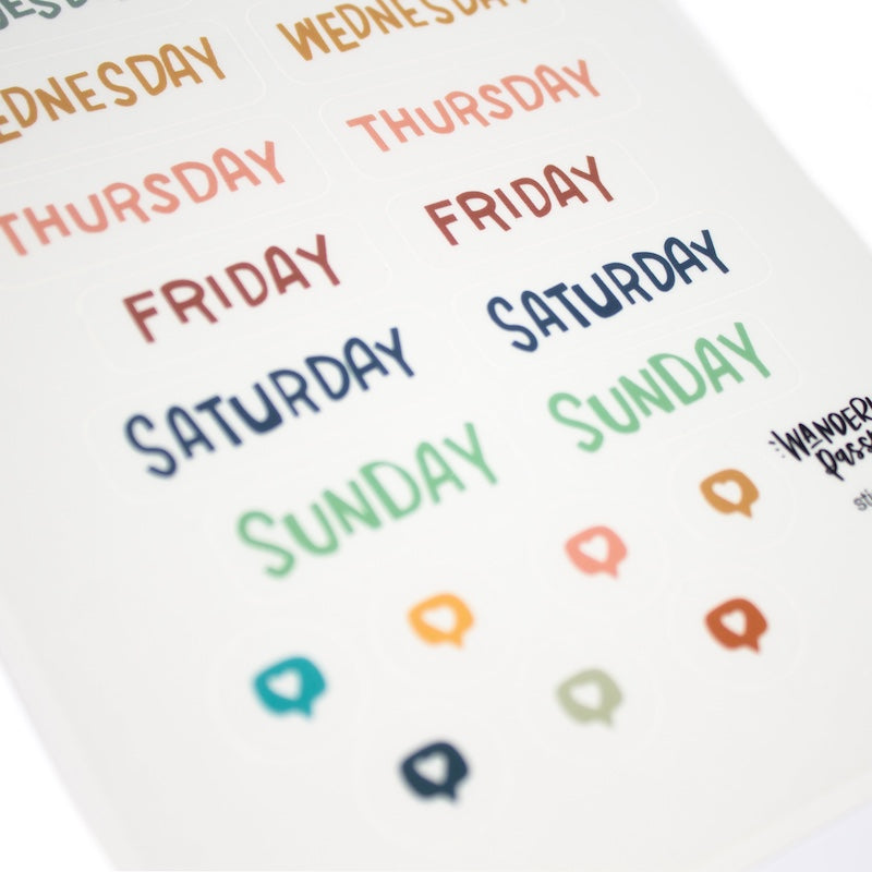 Days of the week sticker set for your planner, journal, or wanderlust passport