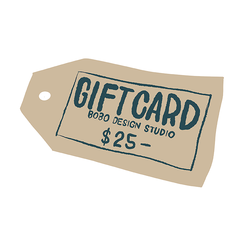 bobo design studio gift card for $25 makes the perfect gift!