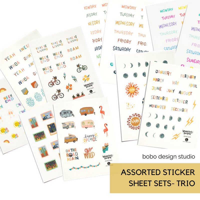 Wanderlust Passport Sticker Pack- Bicycles and Bouquets
