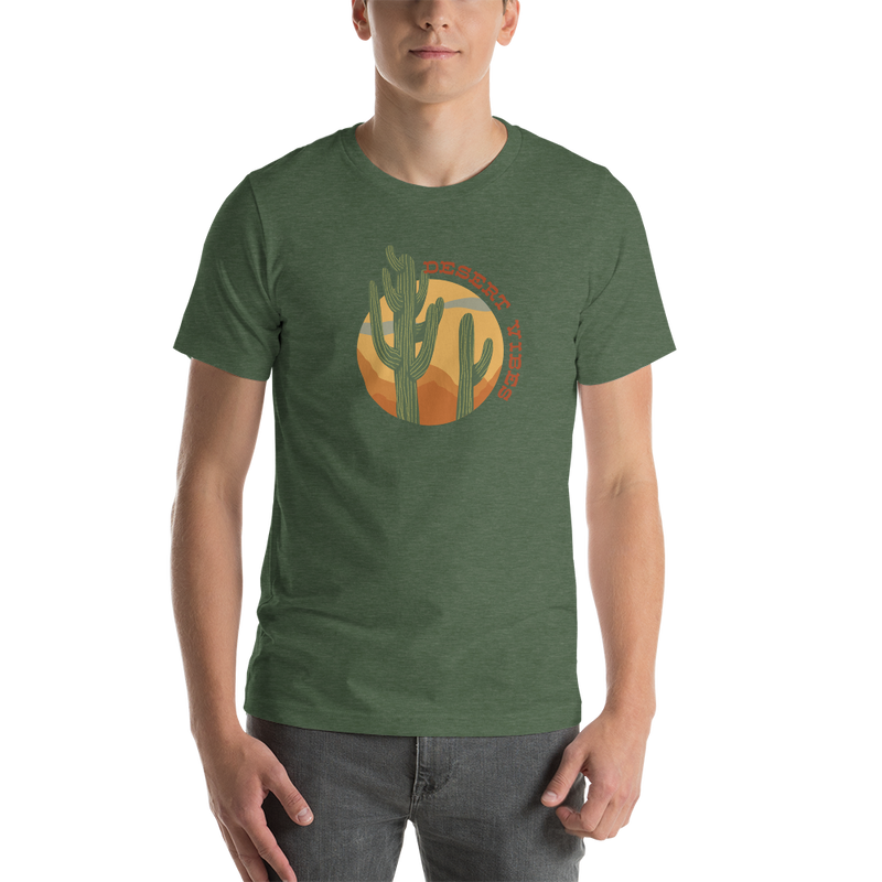 Desert Vibes unisex tshirt featuring a saguaro cactus on a green colored shirt
