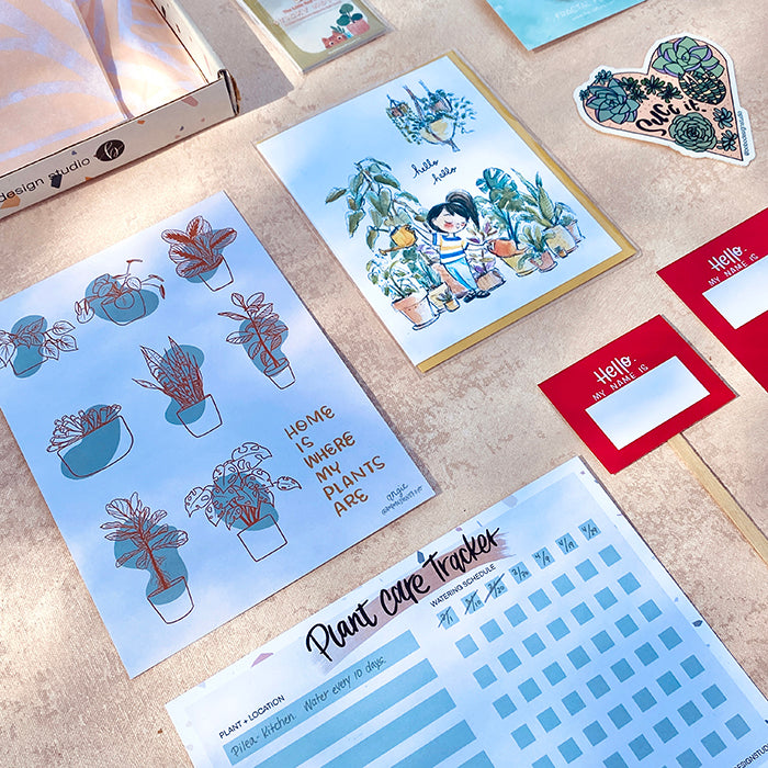 Original prints, plant greeting cards, and fun plant themed stickers in the bobo monthly stationery box