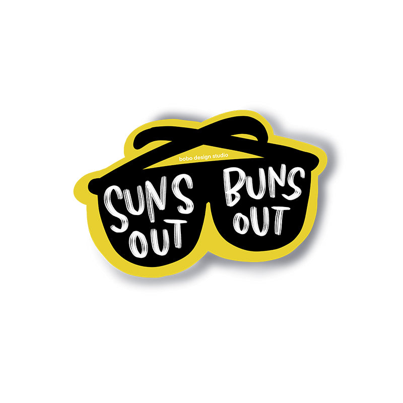 Suns Out Buns Out Sunglasses Sticker by bobo design studio