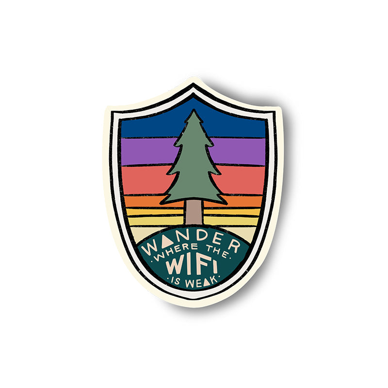 wander where the wifi is weak sticker redwood