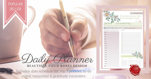Daily Planner- field roses design