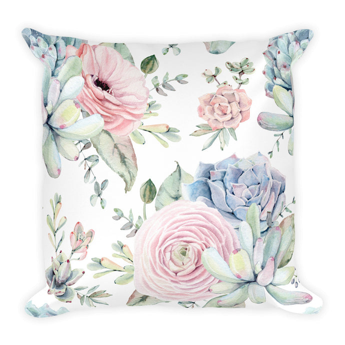 Designer Cushion- Grey and Soft Pink Succulents