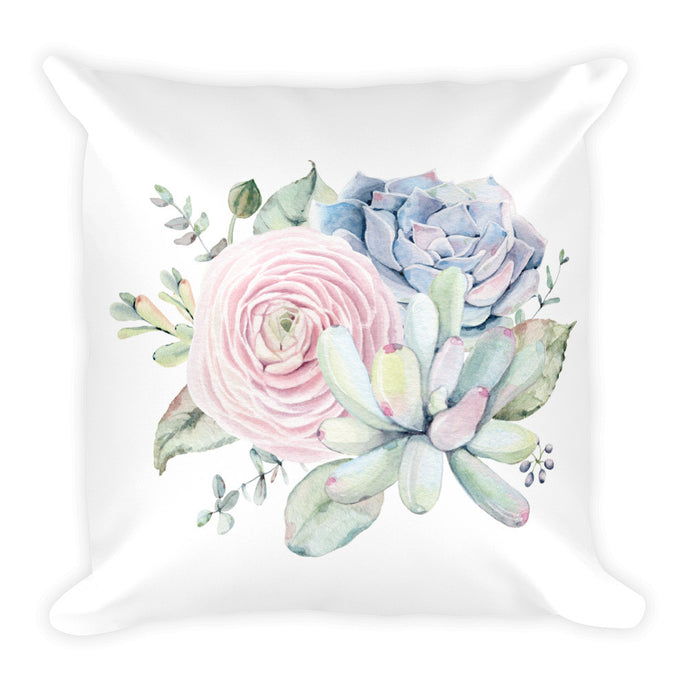Limited edition designer Square Pillow- Soft pink and grey succulent feature