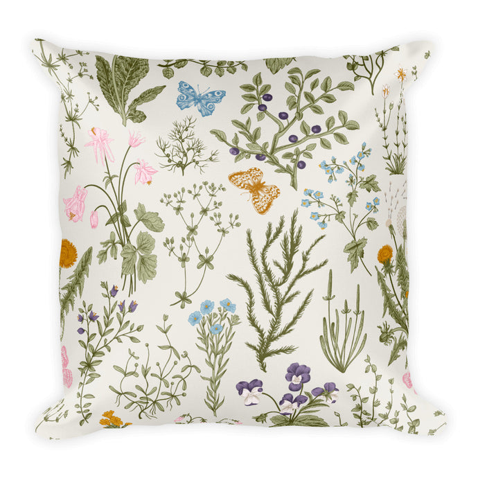 Limited edition designer Square Pillow- Wildflowers and butterflies design