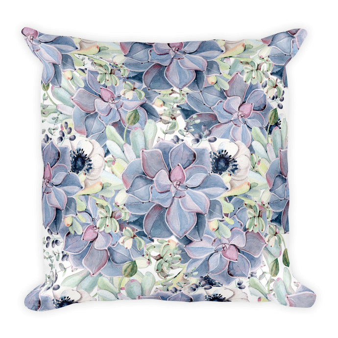 Limited edition designer Square Pillow- Grey, green, pink succulents