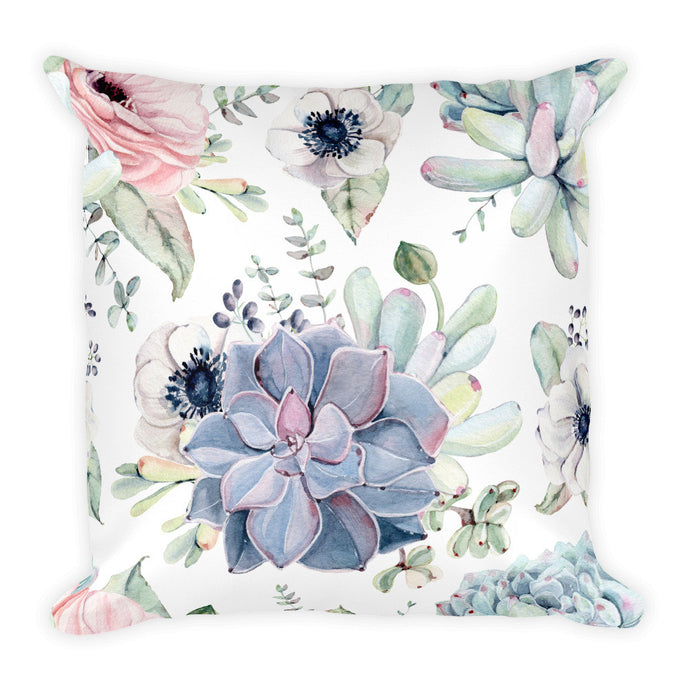Limited Edition Designer Square Pillow- grey, green, pink succulents feature