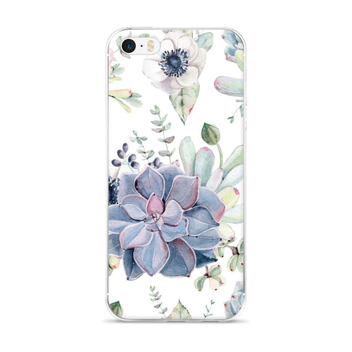 iPhone 5/5s/Se, 6/6s, 6/6s Plus Case -dark grey and soft green succulents