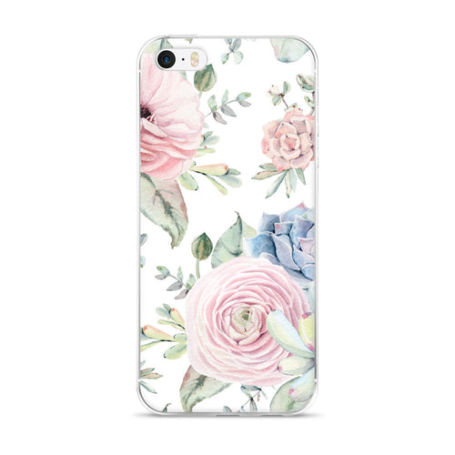 iPhone 5/5s/Se, 6/6s, 6/6s Plus Case -soft pink and grey succulents