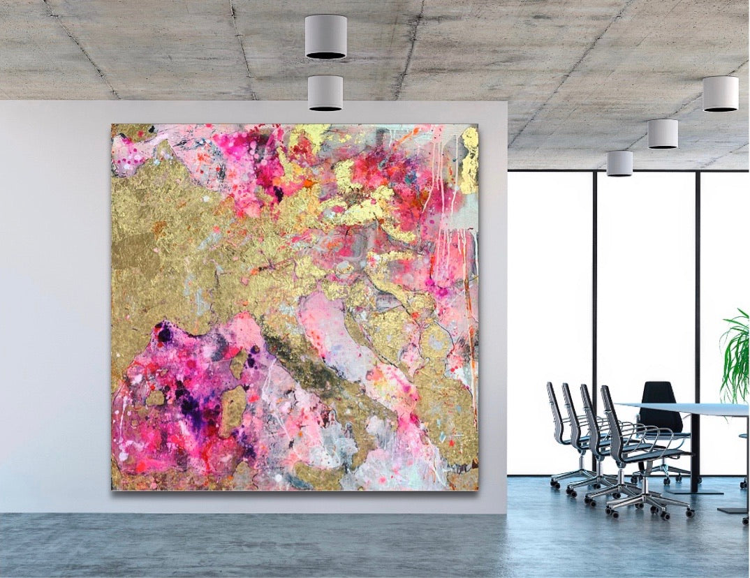Piece of Europe Pink. Original artwork on canvas