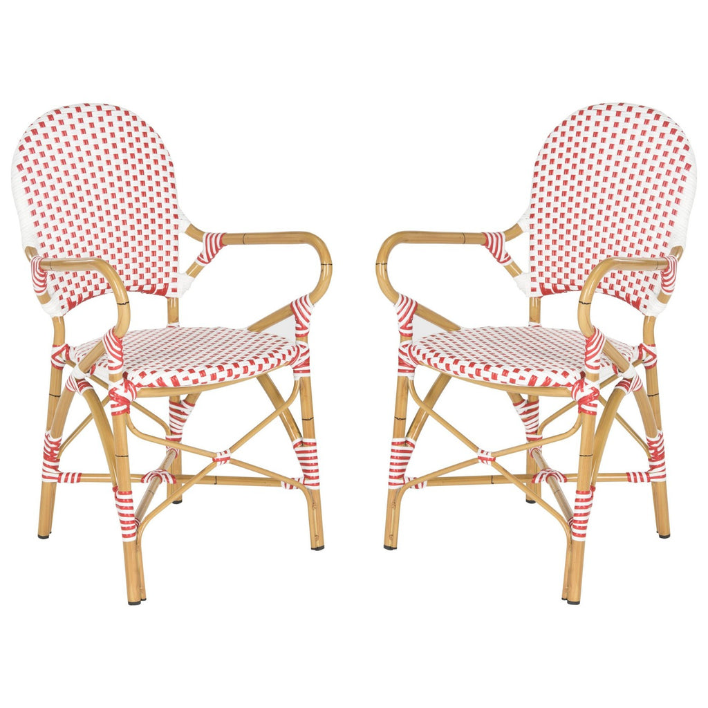 2pc Biarritz Wicker Patio Arm Chair - Red/White  -