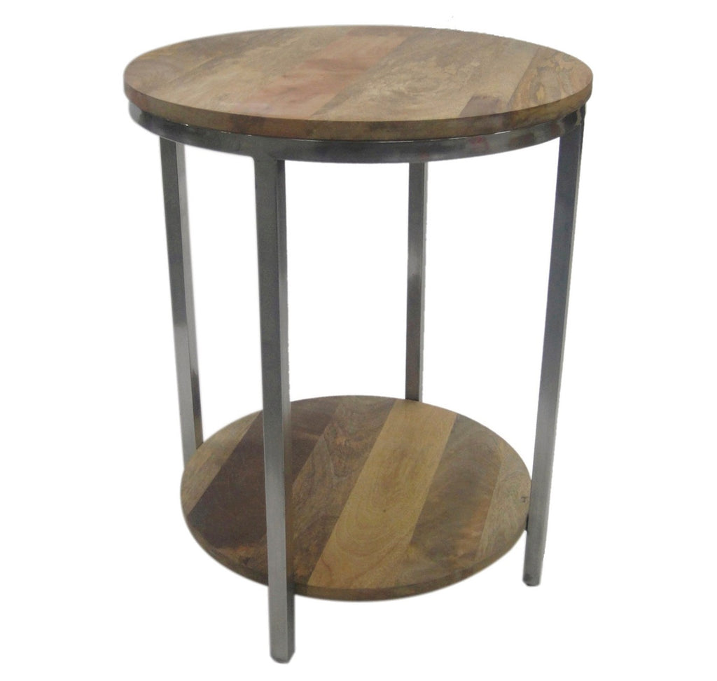 Berwyn End Table Metal and Wood Rustic Brown - Thr
