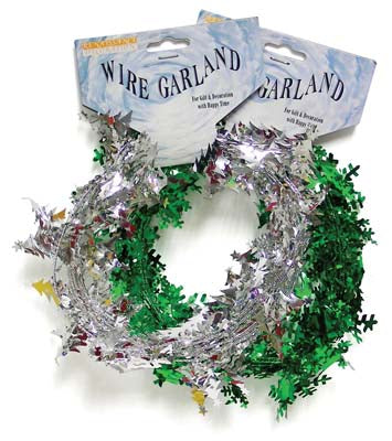 Metallic Wire Garland Snowflake 9 Feet Assorted Colors