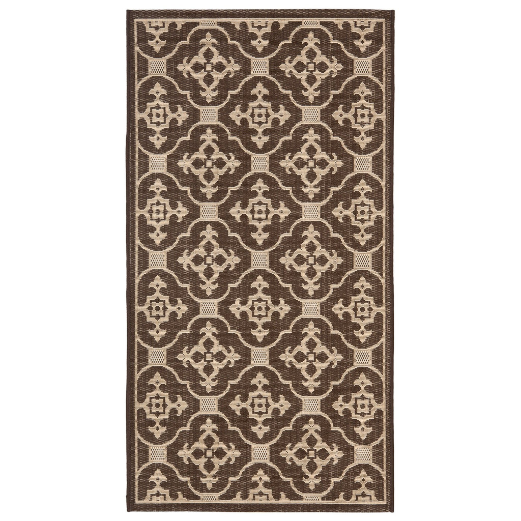 "Coventry Rectangle 2'7"" X 5' Outdoor Rug - Chocola"