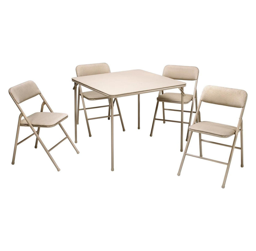 5 Piece Folding Table and Chair Set - Wheat Diamon