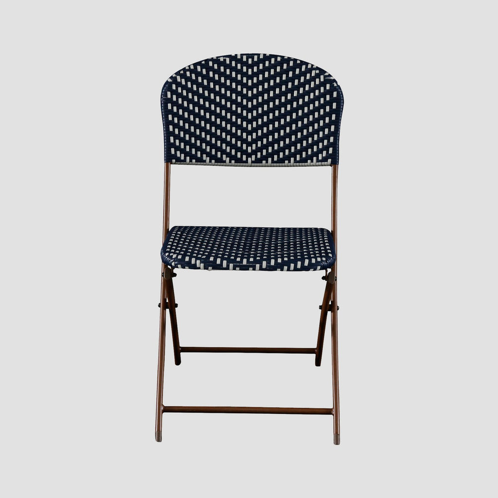 French Café Wicker Folding Patio Bistro Chair - Navy/White - Threshold™