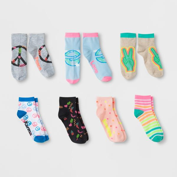 Girls' 7pk Ankle Socks - Cat & Jack L