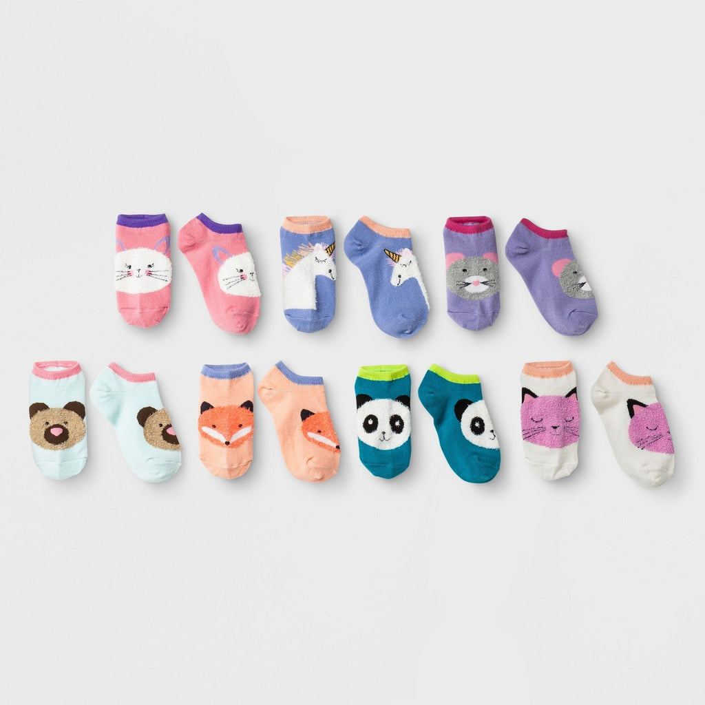 Girls' 7pk Fuzzy Critters No Show Socks - Cat & Jack