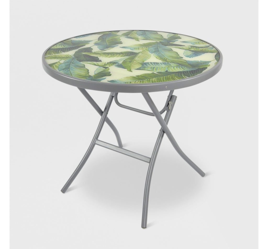 "32"" Folding Patio Bistro Table Green/White Leaf - Threshold™"