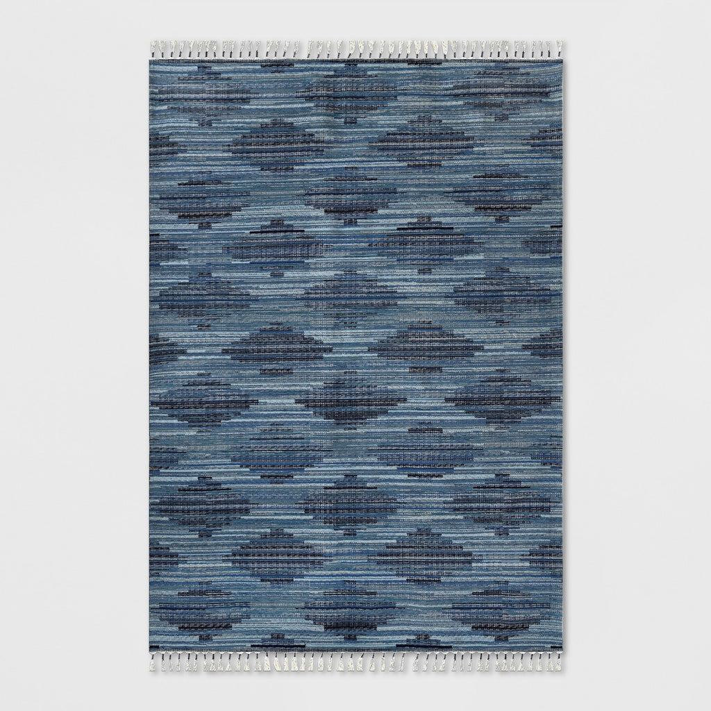 7' x 10' Diamond Tassel Outdoor Rug Blue - Opalhouse™