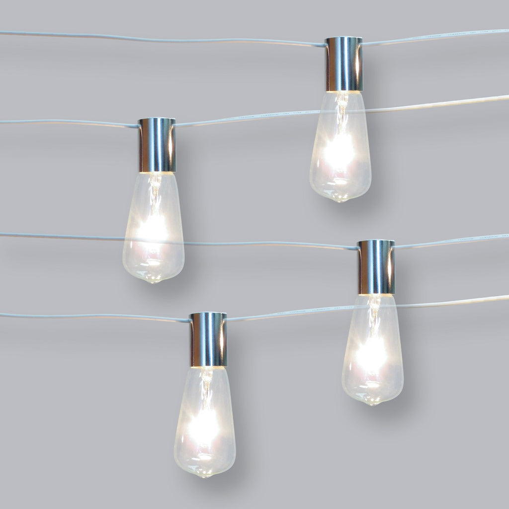10ct Vintage Bulb Outdoor String Lights Stainless Collar White Wire - Threshold™