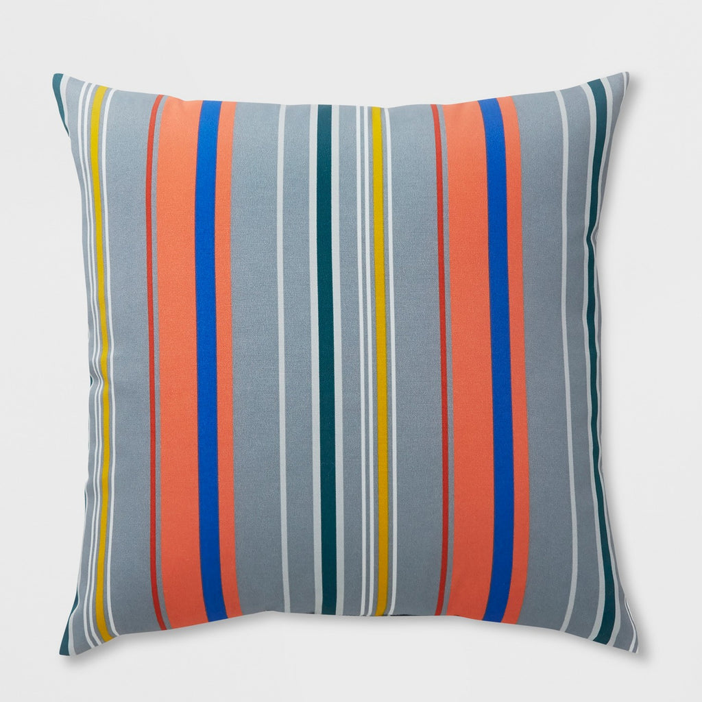 Oversize Square Avenue Stripe Outdoor Pillow Gray - Project 62™