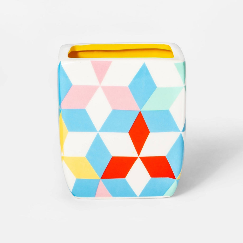 Geo Print Square Planter - Yellow/Blue/White - Sun Squad™