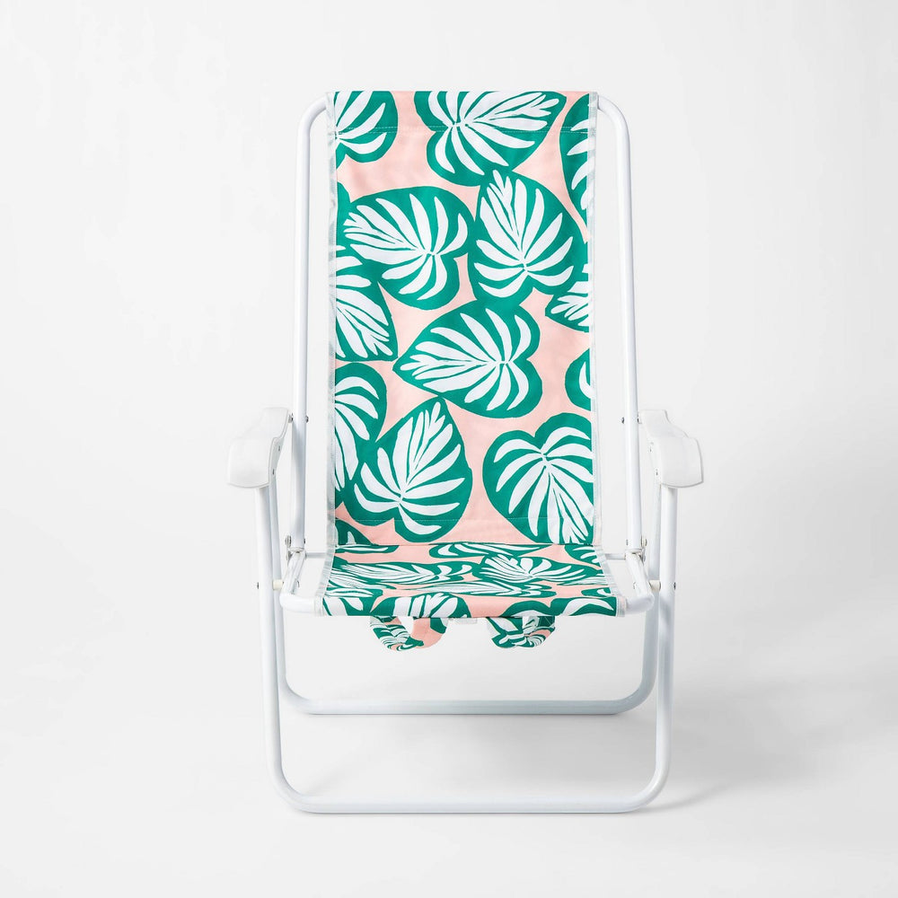 Palm Leaf Backpack Chair Green/Pink - Sun Squad™