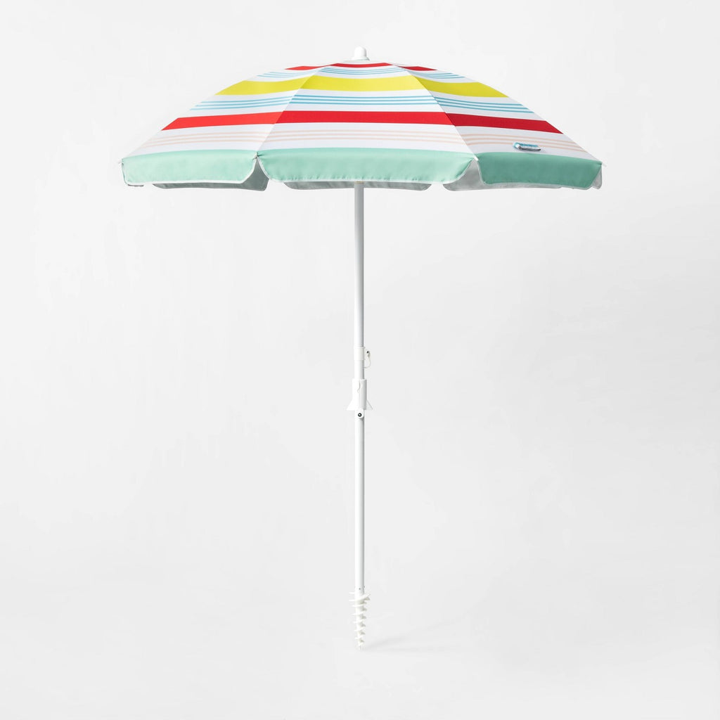 6' Variegated Stripe Beach Umbrella Red/Yellow/Blue - Sun Squad™