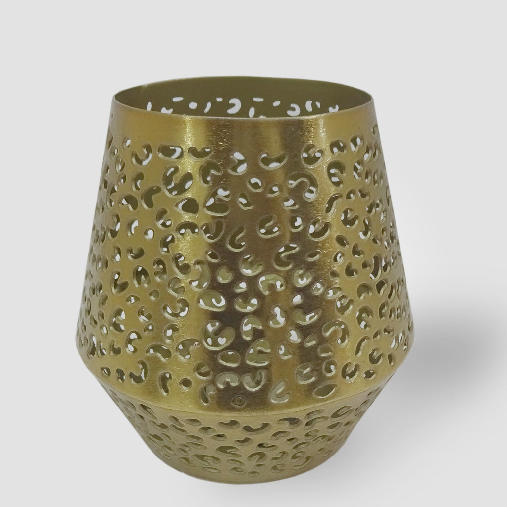 "4.5"" Perforated Leopard Print Outdoor Lantern Candle Holder Gold - Opalhouse™"