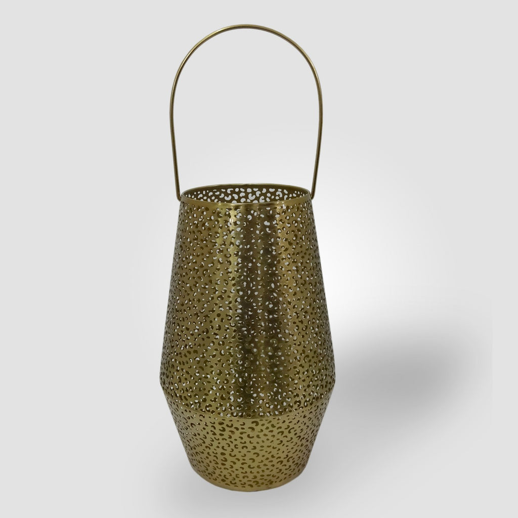 "12"" Perforated Leopard Print Outdoor Lantern Candle Holder Gold - Opalhouse™"