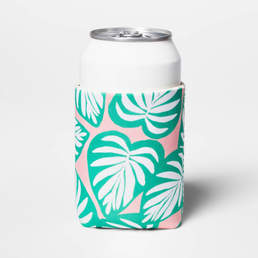 Palm Leaf Can Cooler Green/Pink - Sun Squad™