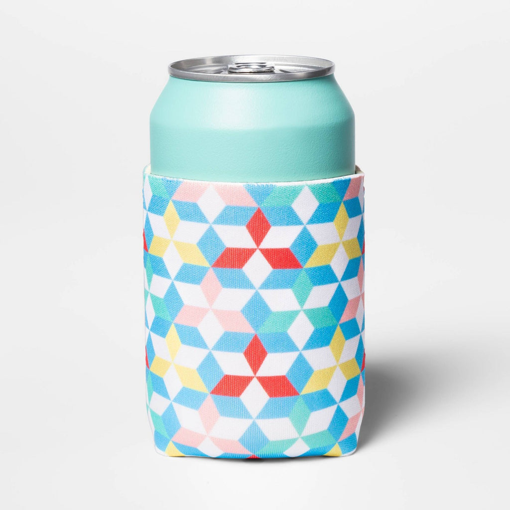 Geo Print Can Cooler Yellow/Blue/White - Sun Squad™