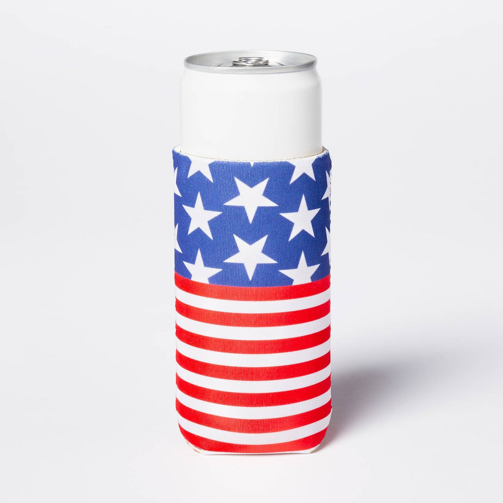 Americana Slim Can Cooler Red/White/Blue - Sun Squ