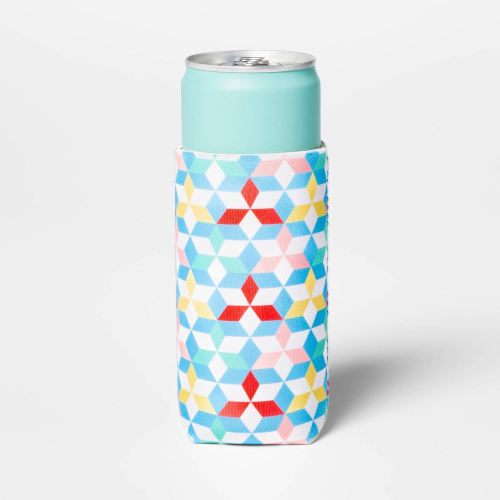 Geo Print Slim Can Cooler - Yellow/Blue/White - Su