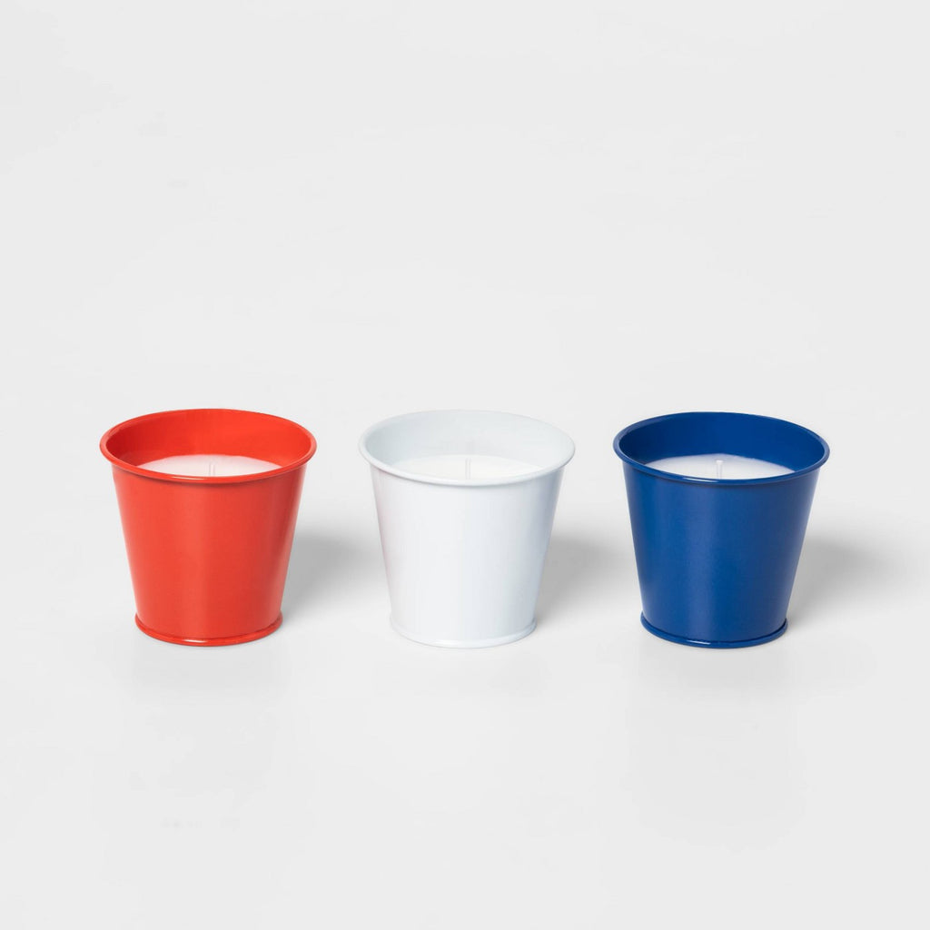 3pk 4oz Citronella Wax Bucket Candles Americana Red/White/Blue - Sun Squad™