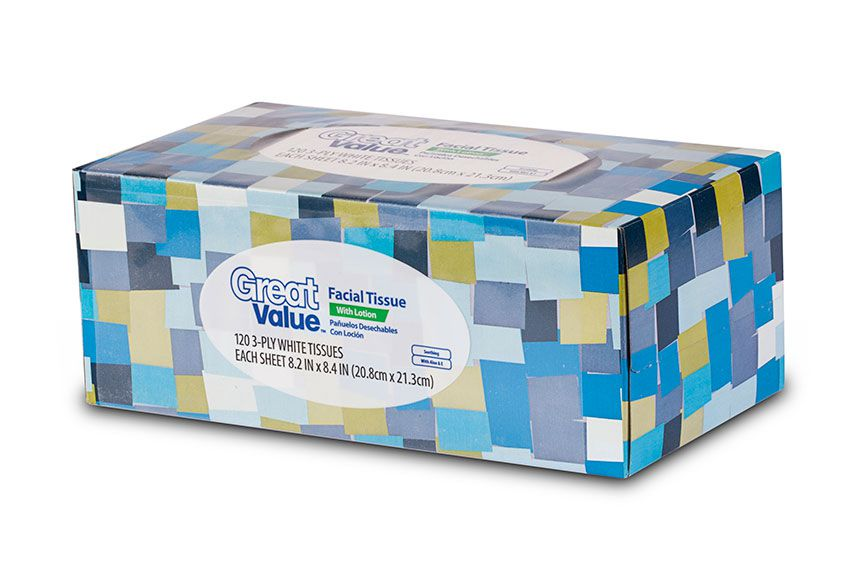 Great Value Facial Tissue 136sh 2-Ply