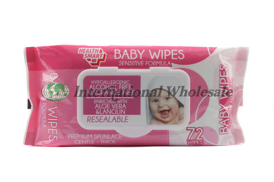 Baby Wipes With Lids Pink 24Ct/72Pc