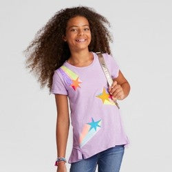 Girls' Shooting Star Graphic T-Shirt - Cat & Jack  Soft Lilac M