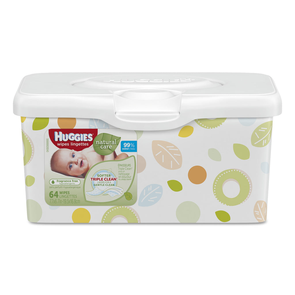 HUGGIES Natural Care Baby Wipes, Pop-Up Tub, Fragrance-free, Alcohol-free, Hypoallergenic, 64 Sheets