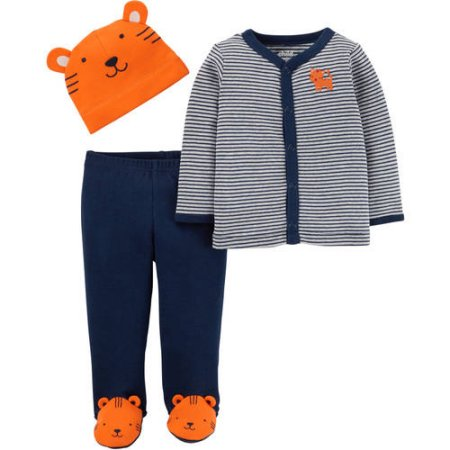 Carter's Newborn Baby Boy Cap, Cardigan and Foot Pant Set-3 Pie