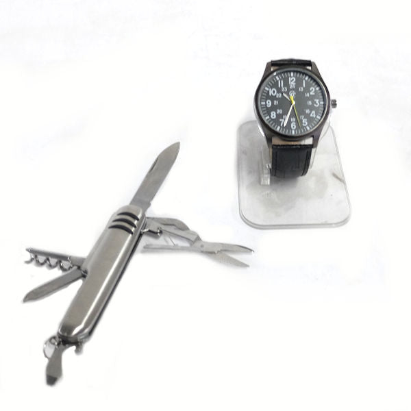 Gold Coast Men's Watch with Leather Band & Pocket Knife Multi-tool