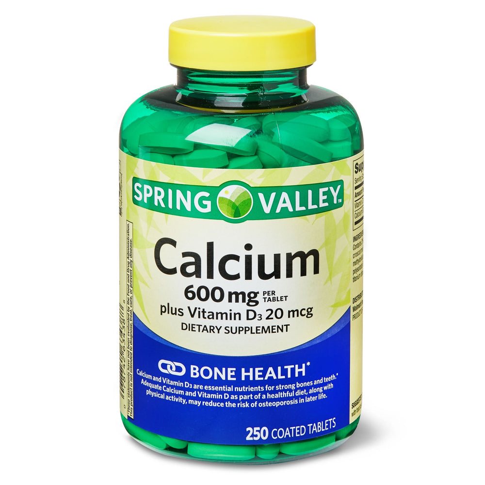 Spring Valley Calcium 600 mg plus Vitamin D3 20 mcg Coated Tablets, 250 Count