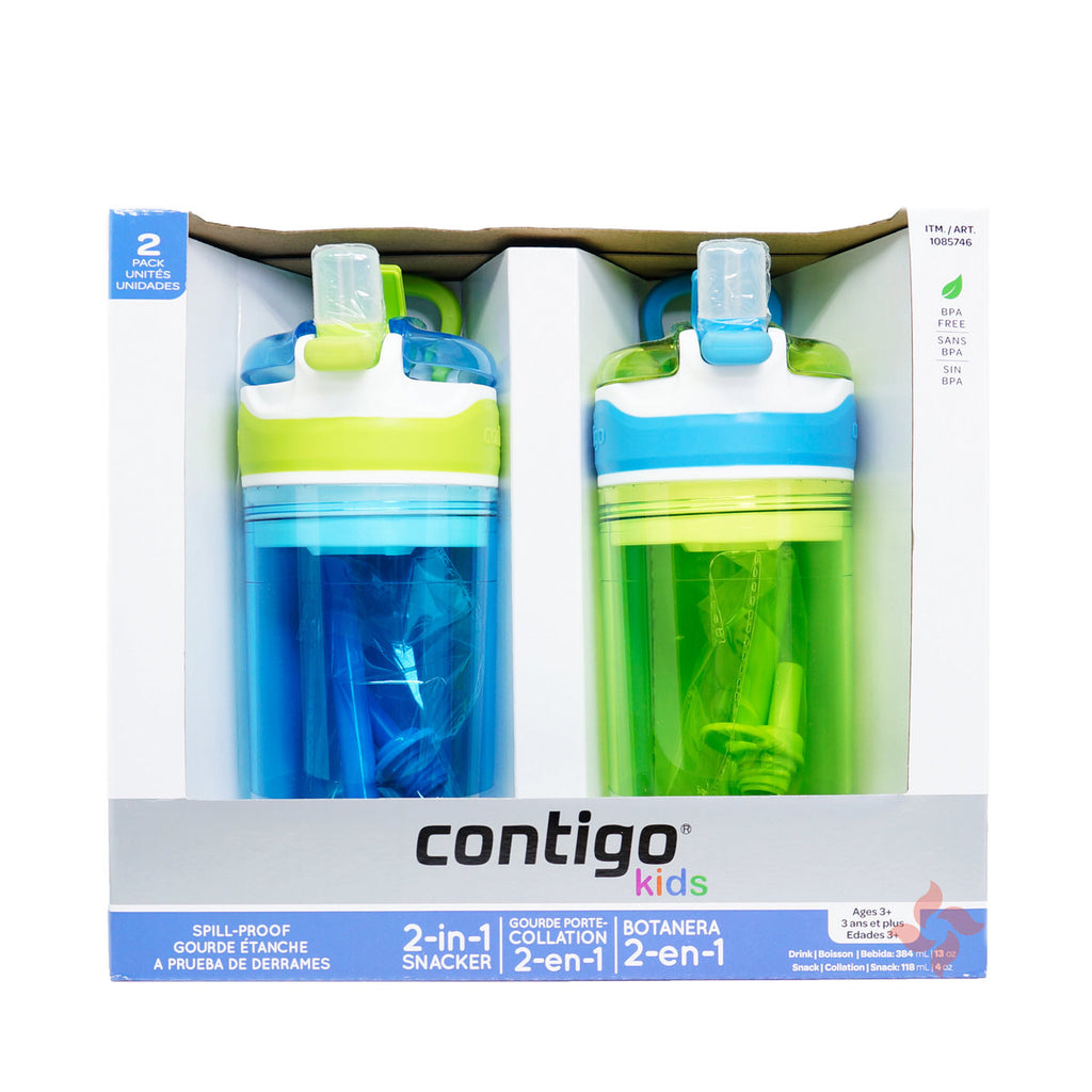 Contigo Kids 2 in 1 Snacker Spill Proof Bottles & Snack Cups Blue Green