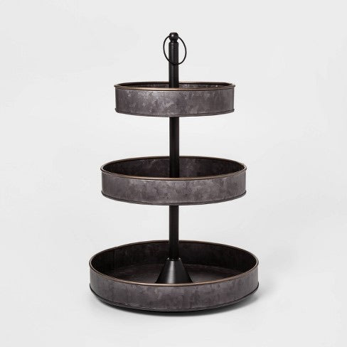 3 Tier Serving Tray with Brass Border Black - Threshold