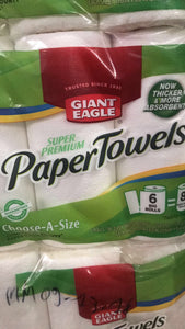 Giant Eagle paper Towels 94sh 2ply 6roll