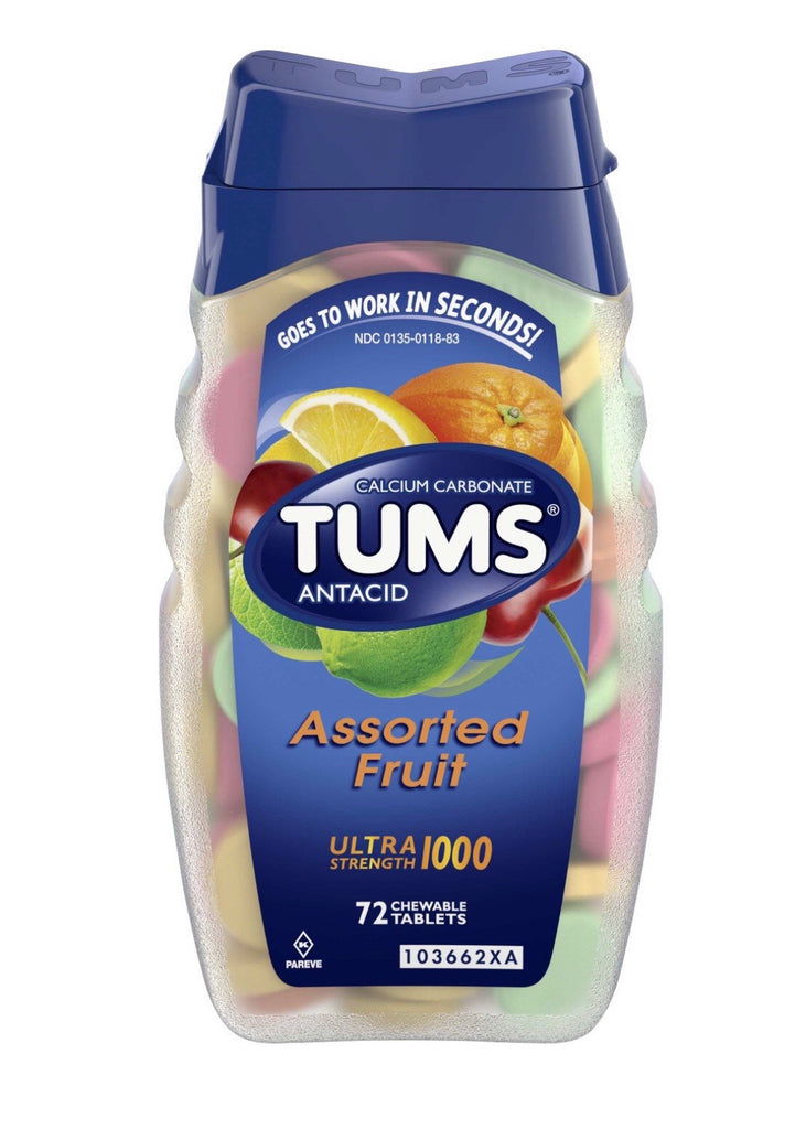 Tums Anticid tablets, 1000mg, Calcium Carbonate, 72 chewable tablets