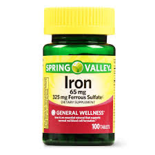 Spring Valley Iron Tablets, 65 mg, 100 Count DLC: DEC/2022